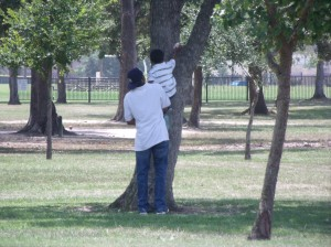 Tre' wanted to climb a tree...Because he saw Daddy doing it.