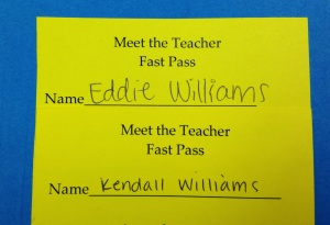 Kendall & Eddie's Meet the Teacher Passes....Allowed us to bypass all the other people who didn't attend  the previous event held at the school. :)