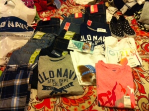 Just a small portion of what I bought for my kiddos at Old Navy.