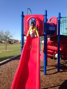 Kendall on the slide