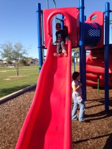 Tre' on the slide
