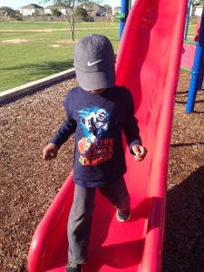 Tre' walking in the slide