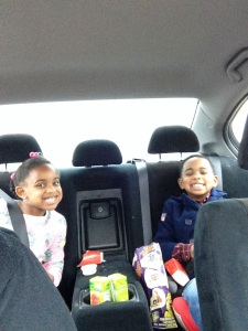 The kiddos after church...Chowing down on their chicken nuggets from Wendy's.